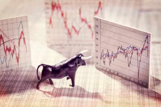 Steigende Kurse an der Börse stock photo