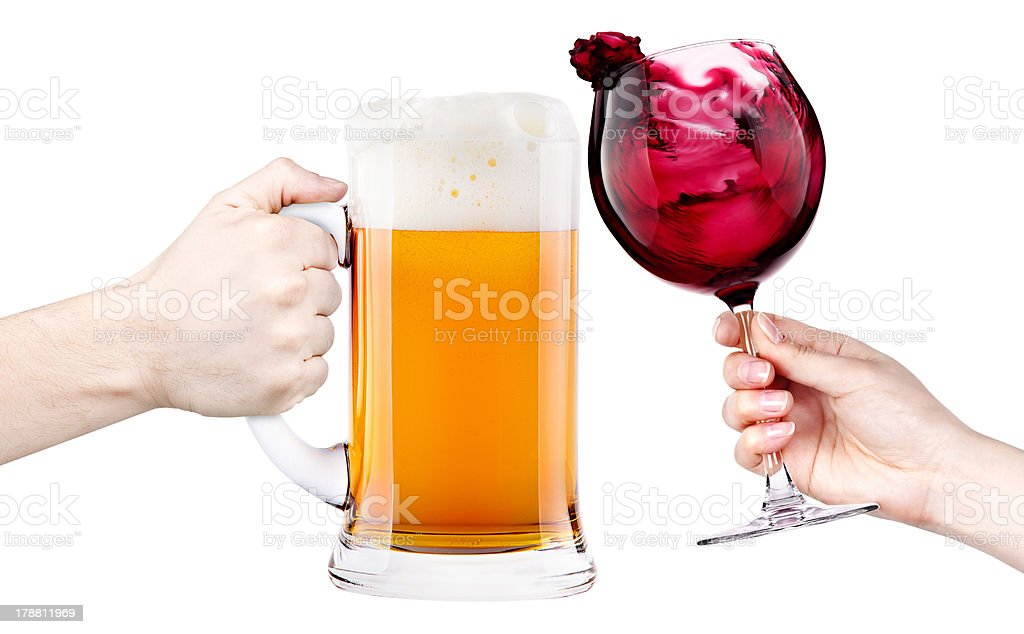 Stein of beer and glass of red wine stock photo