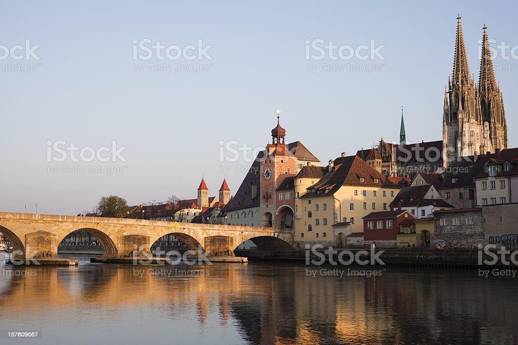 Steinerne Brucke's lake and bridge, Regensburg stock photo