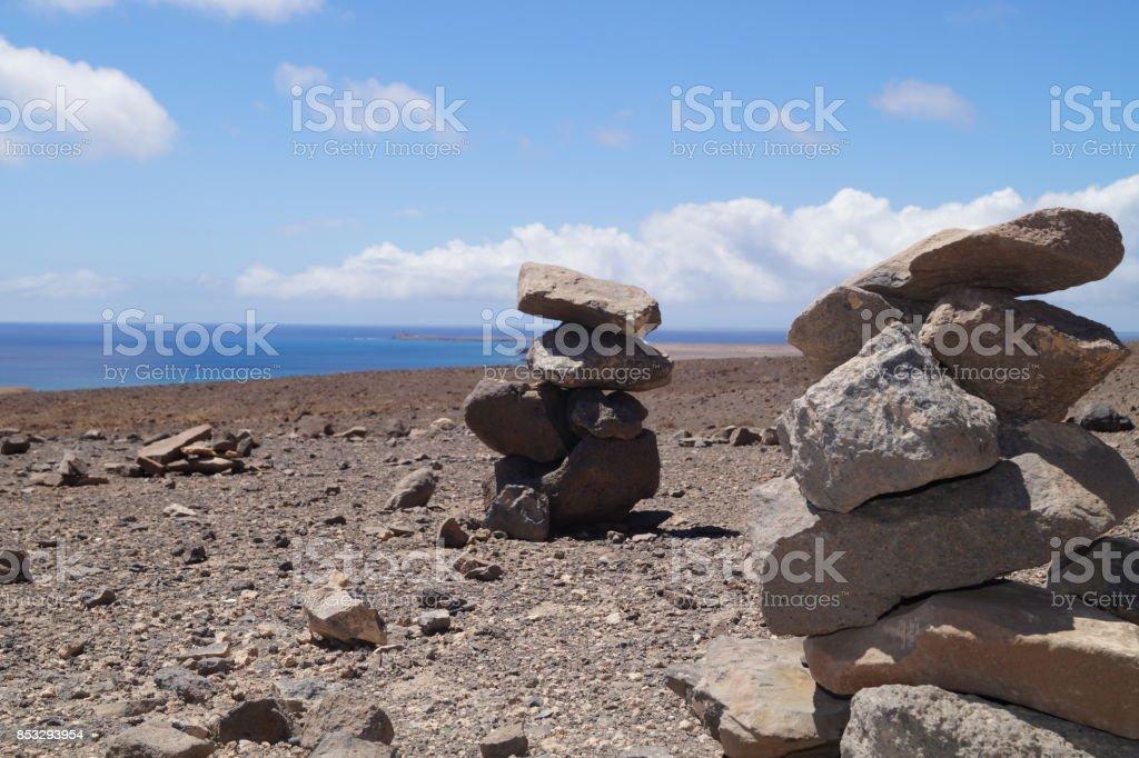 Steinhaufen auf Fuerteventura stock photo