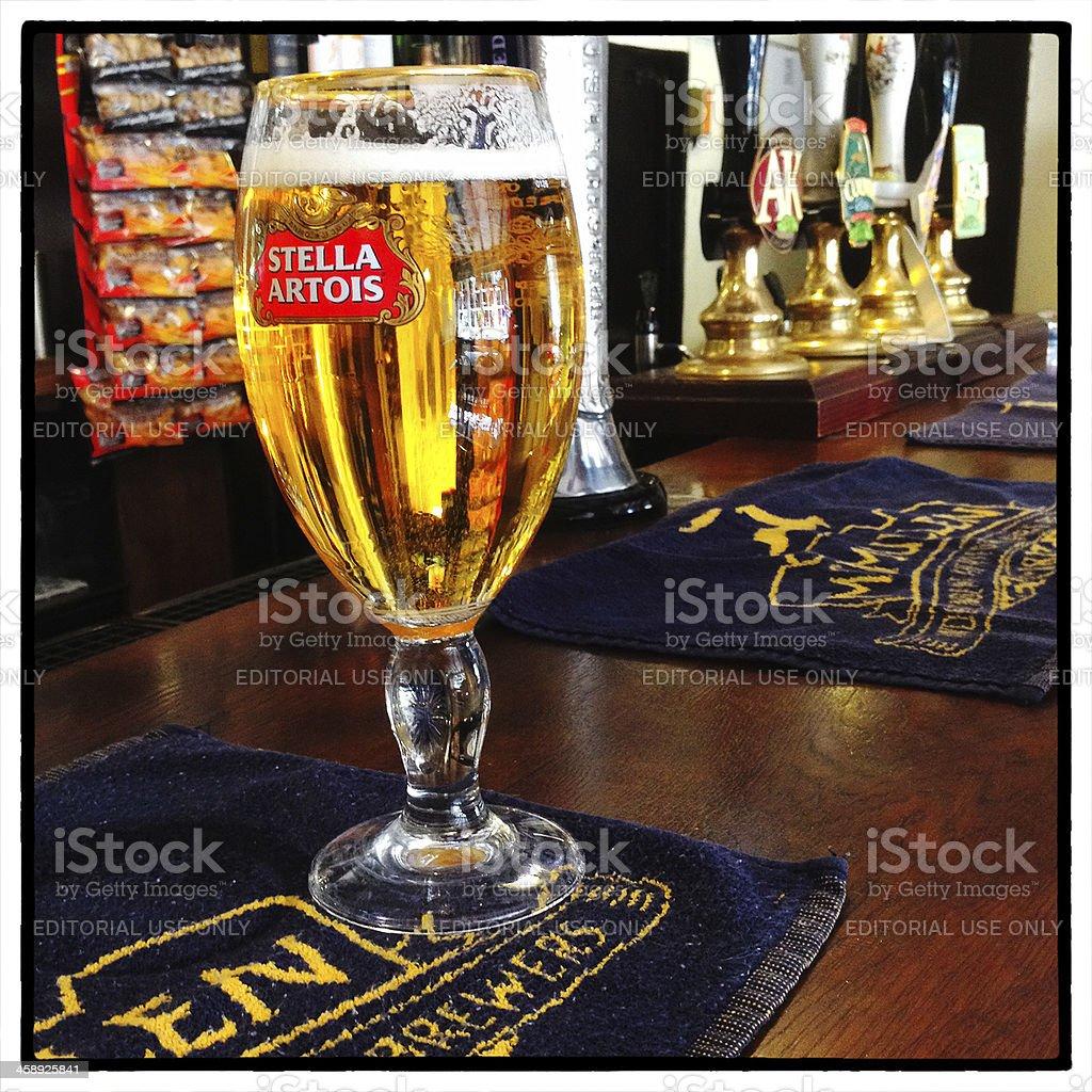 Stella Artois Beer on an English Pub Counter stock photo