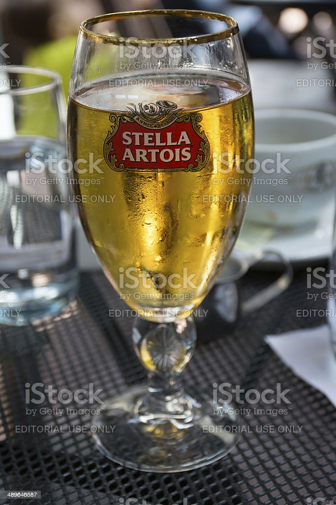 Stella Artois draft beer aith weekend meal stock photo