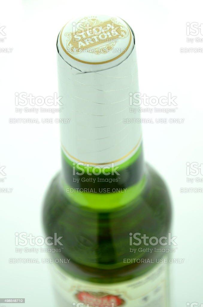 Stella Artois pilsner beer isolated on white background stock photo
