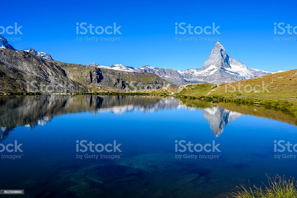Stellisee - beautiful lake with reflection of Matterhorn - Switzerland stock photo