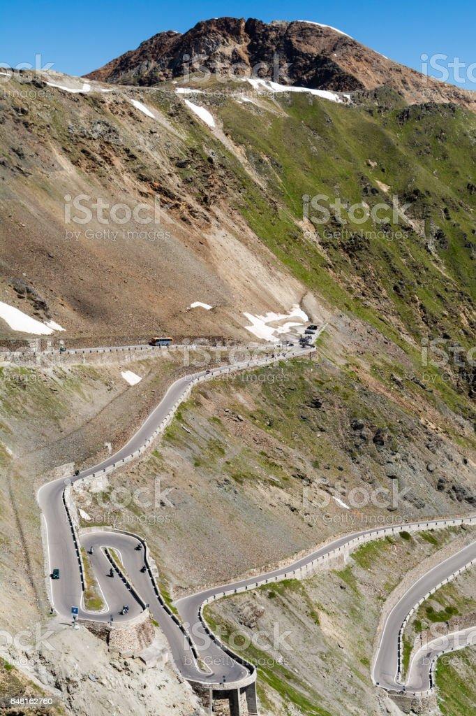 Stelvio Pass mountain road in the Tyrol Alps stock photo