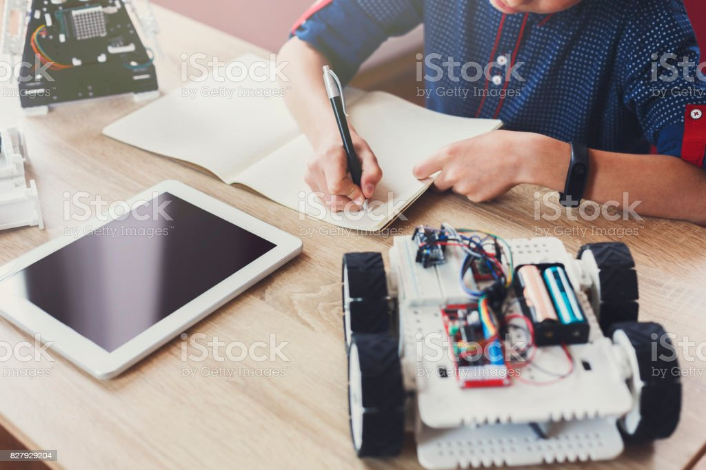 Stem education. Creating robotics project, mockup stock photo