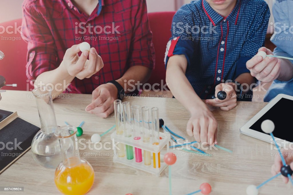Stem education. Physical experiments at school stock photo