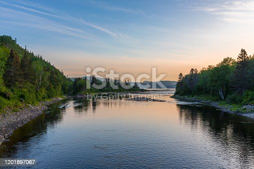 Ste-Marguerite River in Summer at sunset in Saguenay Lac Saint-Jean, Quebec, Canada. Located in la SEPAQ, Camping le Bleuvet.