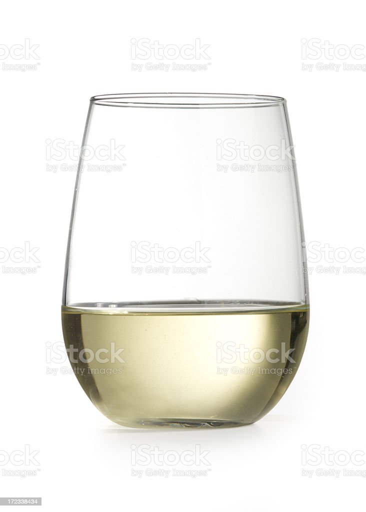 stemless wine glass with chardonnay isolated on white stock photo
