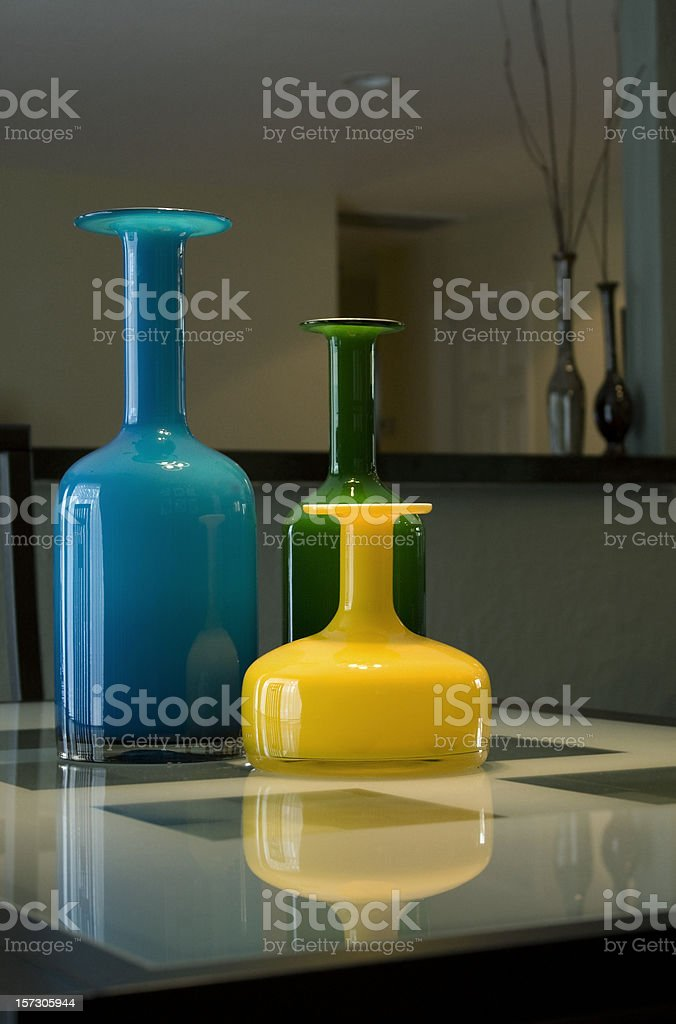 Stemware and vases with a modern style royalty-free stock photo