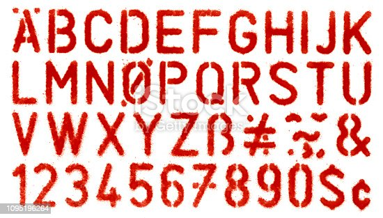 Stencil spray painted of alphabets.