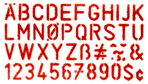 stencil spray painted of alphabets - typescript stock pictures, royalty-free photos & images