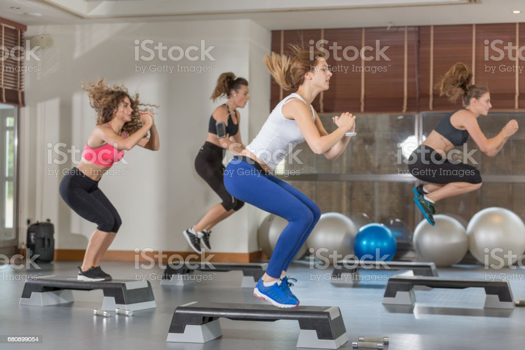 Step aerobic class royalty-free stock photo
