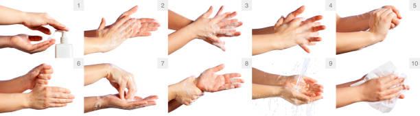 Schritt für Schritt Korrektes Verfahren zum Händewaschen – Foto