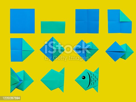Step by step instruction: How to make origami fish. DIY for children.