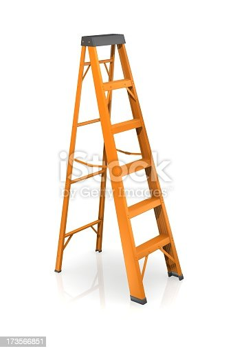 Orange step ladder on a white background.