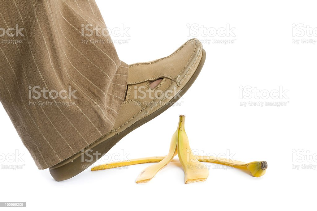 step on banana peel royalty-free stock photo