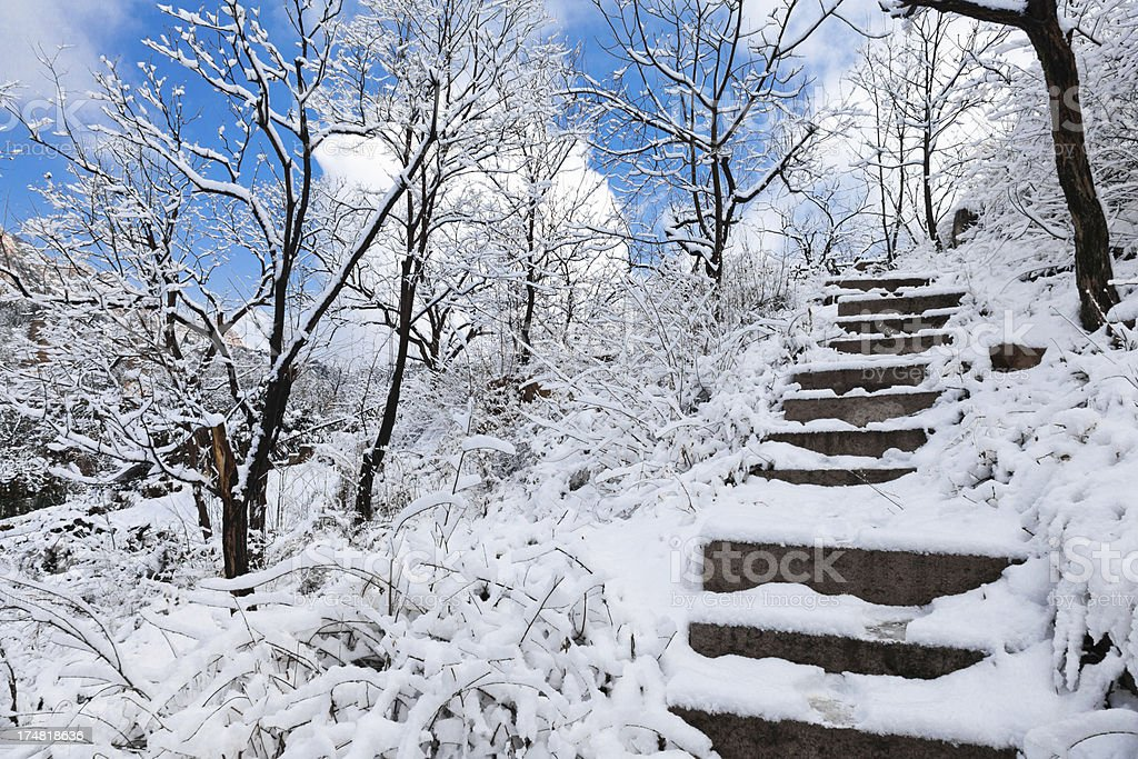 step stair in snow mountain royalty-free stock photo