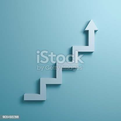 istock Step up arrow on light green pastel color wall background with shadow 905493288