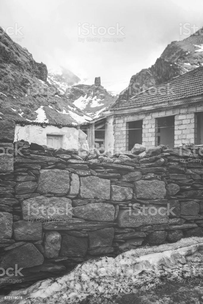 Stepantsminda village in  Georgia stock photo