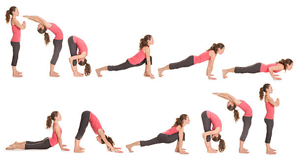 Step-by-step illustration of the sun salutation yoga pose Step by step instructions to Sun Salutation. Pretty brunette woman doing yoga. Isolated. Panoramic image.  sun salutation stock pictures, royalty-free photos & images