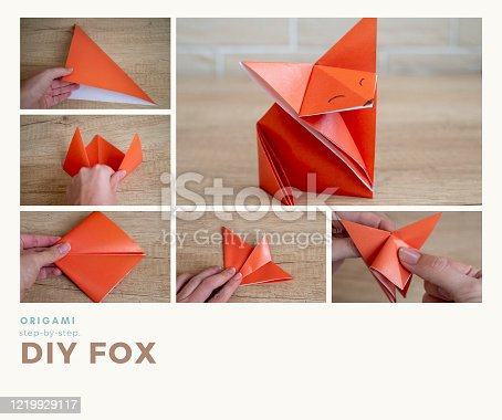 A step-by-step photo guide on how to make a fox using the origami technique. DIY concept. Children's creativity.