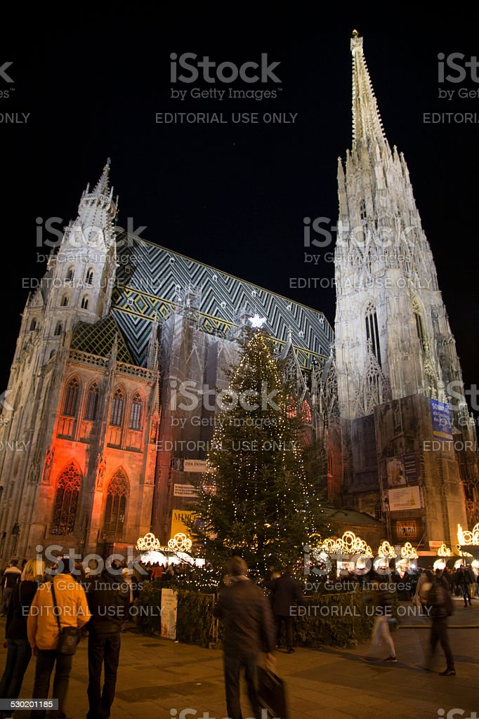 Stephansdom at night in Christmas time stock photo