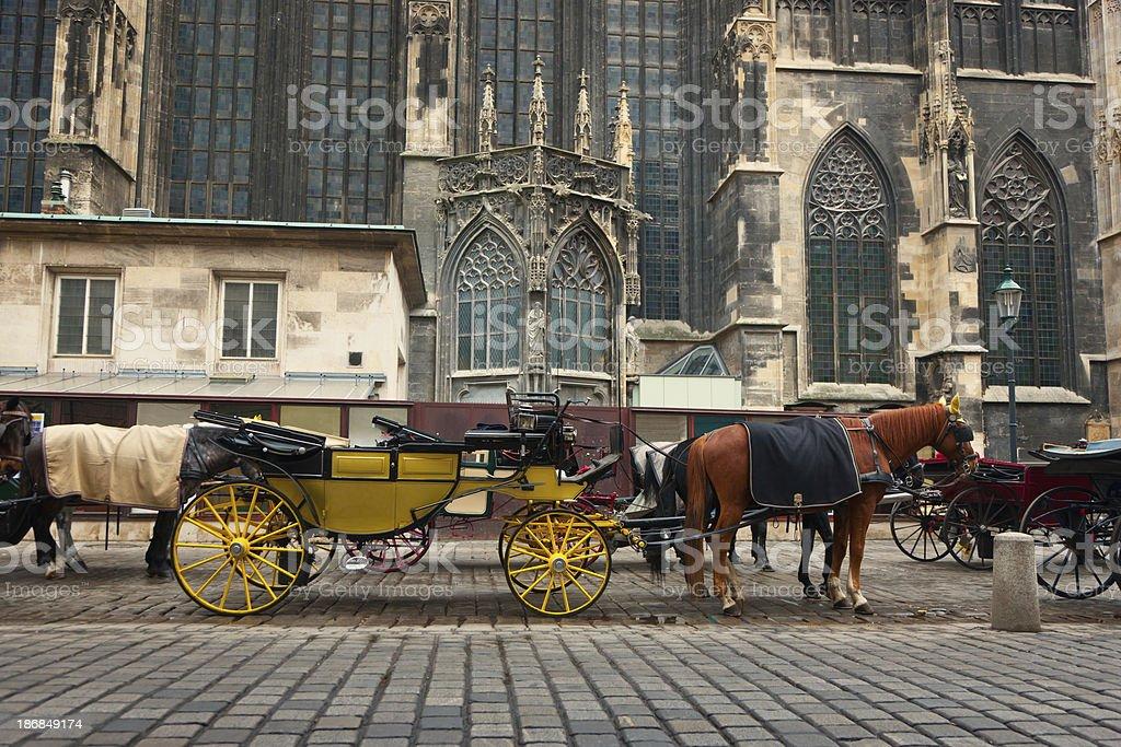 Stephansdom Horse Drawn Carriage Traditional Fiaker, Vienna, Austria stock photo