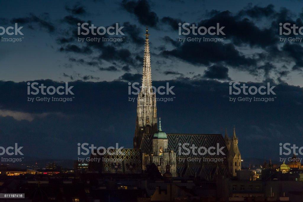 Stephansdom (St. Stephen's Cathedral) Vienna City at Night, Austria stock photo