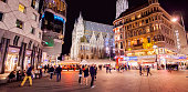 Vienna, Austria - 12 May, 2020: Stephansplatz and St Stephen's Cathedral at night, panoramic view of Wien historical centre