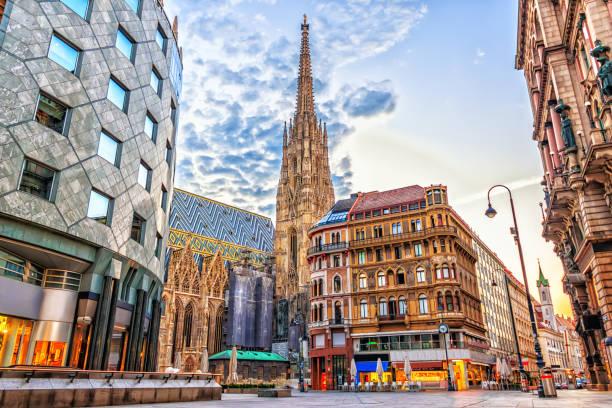 stephansplatz, uitzicht op de stephansdom, vienna - wenen oostenrijk stockfoto's en -beelden