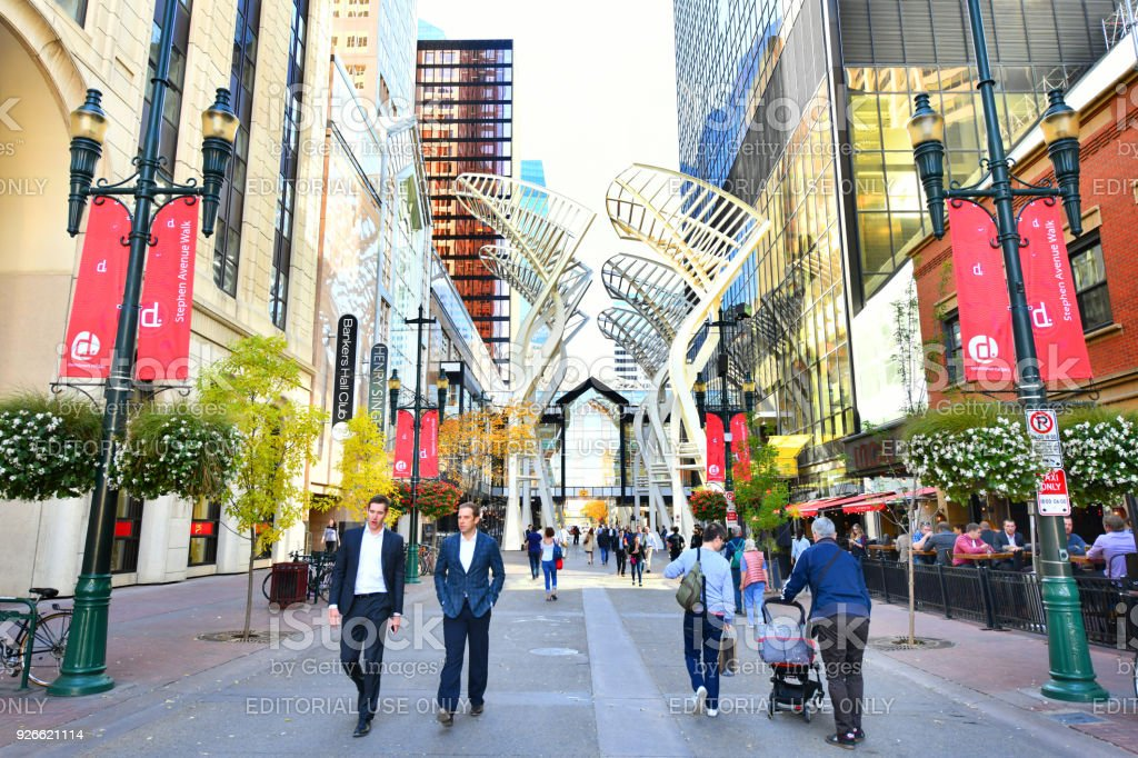 Stephen Ave in Autumn, Calgary, Alberta. Canada stock photo
