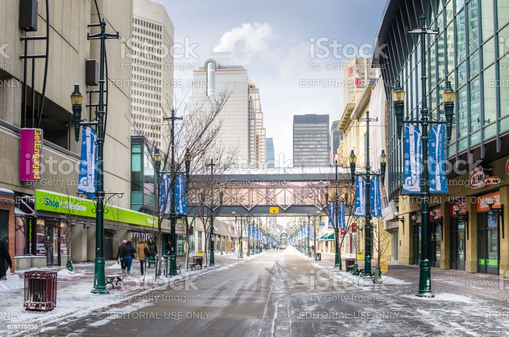 Stephen Avenue in Calgary on a Freezing Winter Day photo libre de droits