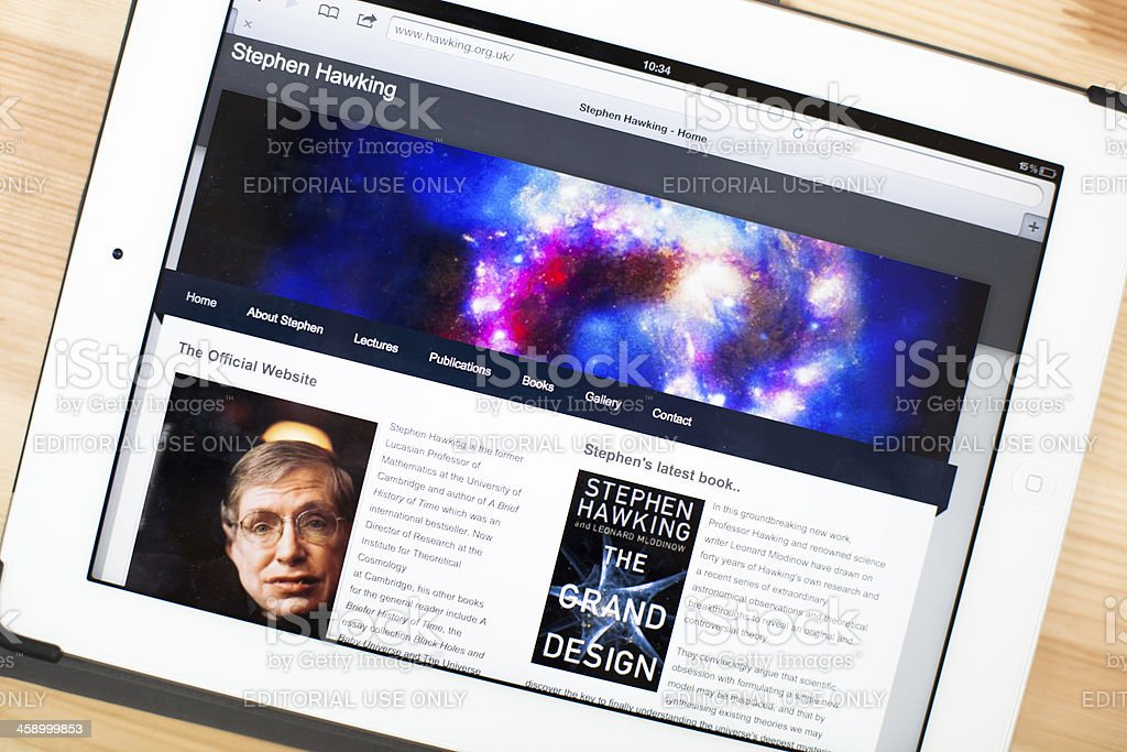Stephen Hawking Website on iPad royalty-free stock photo