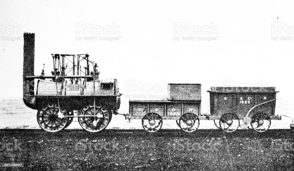 Stephensons 'Locomotion' built in 1815, photographed here in 1890 stock photo