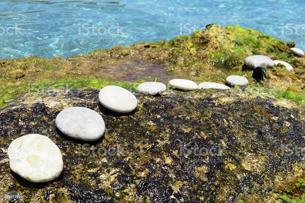steping stones background stock photo