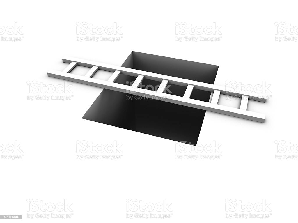 Stepladder bridging a hole in the ground royalty-free stock photo