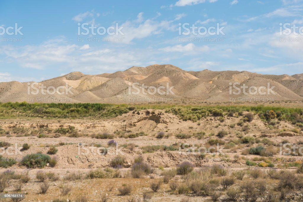 Steppe landscape in Kyrgyzstan stock photo