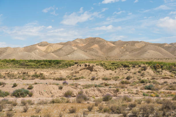 Steppe landscape in Kyrgyzstan View on steppe landscape with barren, sandy hills against blue sky. steppe stock pictures, royalty-free photos & images