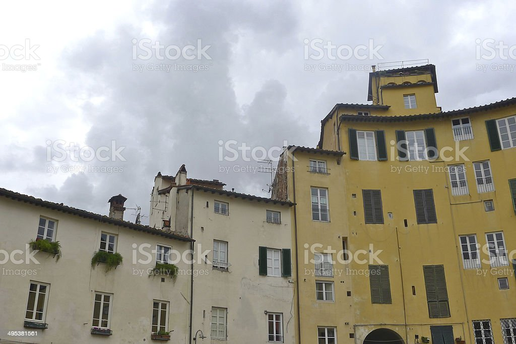 Stepped Buildings in Piazza dell'Anfiteatro, Lucca stock photo