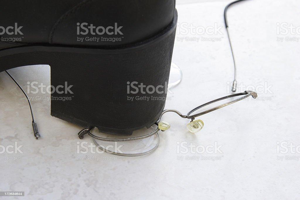 Stepped On Eyeglasses stock photo