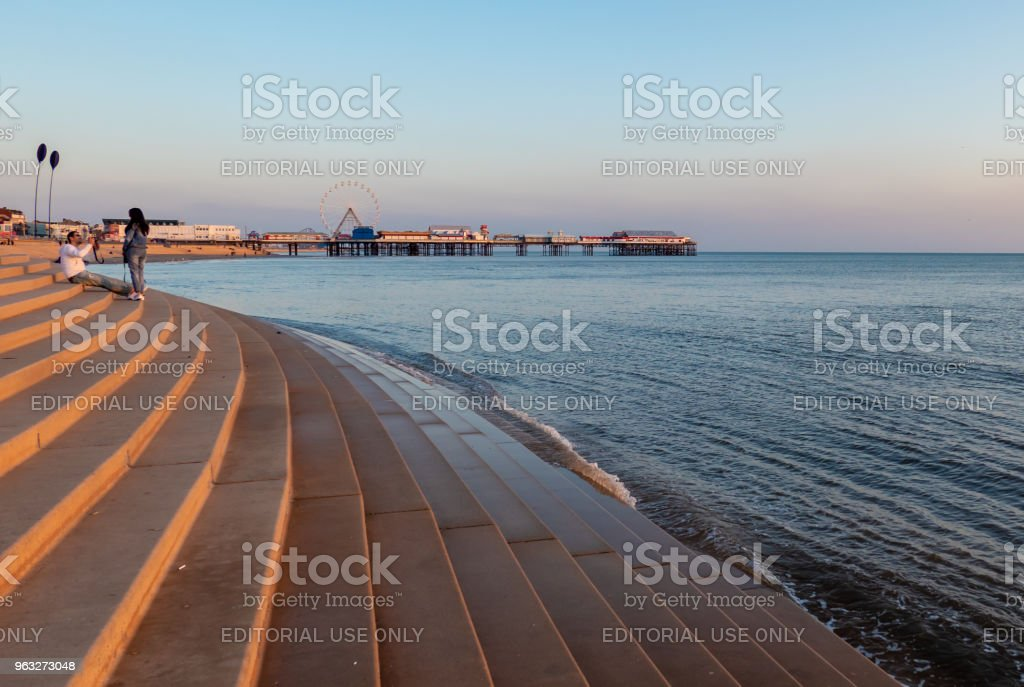 Stepped sea defences on the coast of Blackpool stock photo