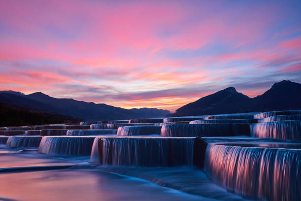 stepped waterfall group at sunrise - composizione orizzontale foto e immagini stock