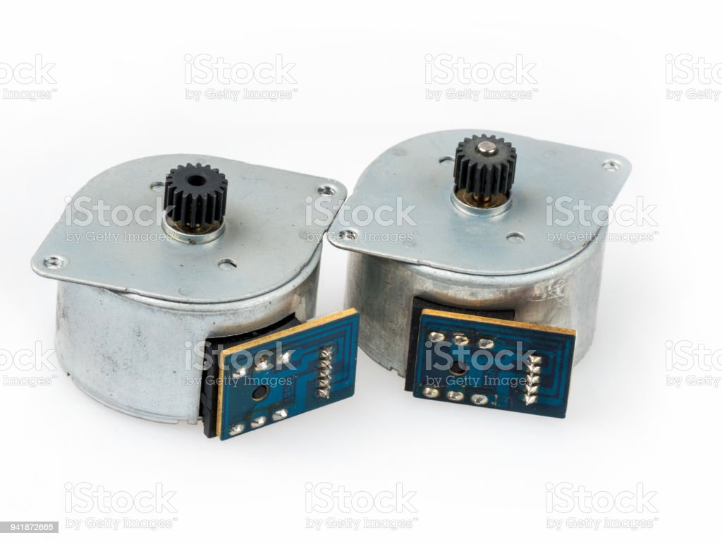 Stepper motors isolated on white stock photo