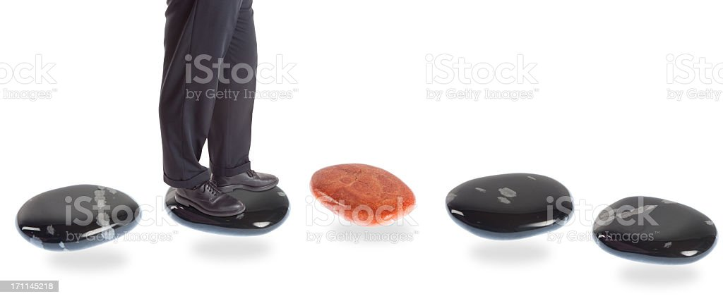 stepping stone concepts: risk royalty-free stock photo