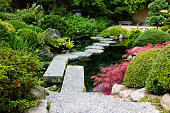 Picture of stairs and stepping stones in a japanese garden
