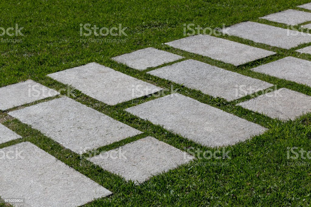 Stepping Stone Path Through Green Mown Grass Lawn Stock Photo - Download Image Now - IStock