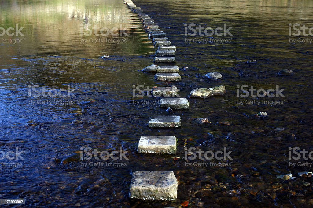 stepping stones across a river stock photo