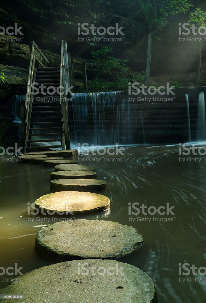 Stepping stones across the stream. royalty-free stock photo