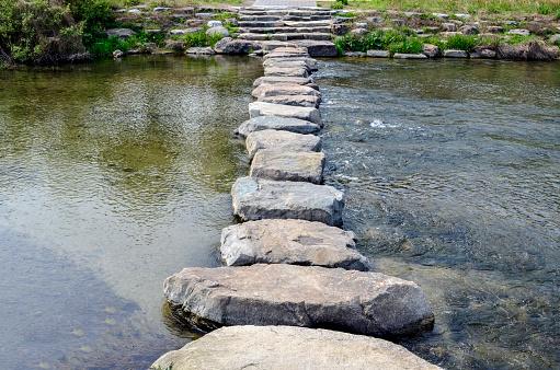 Stepping stones at the Jeonju-cheon stream in Jeonju, South Korea